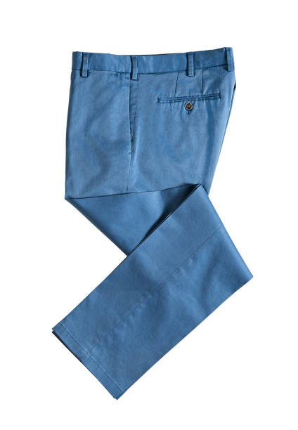 Blue trousers isolated on white background stock photo