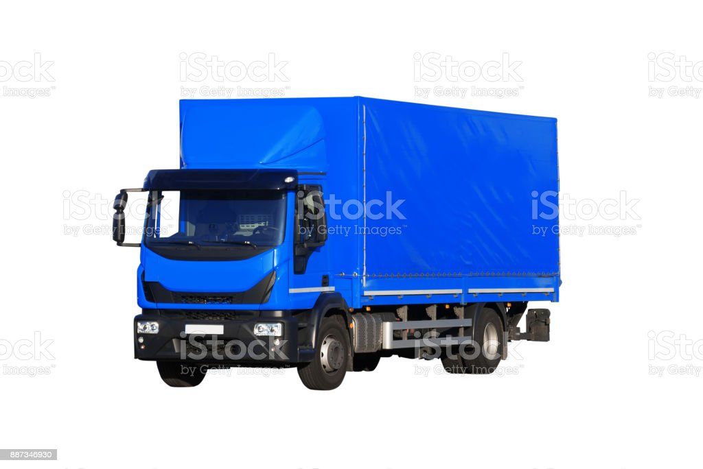 blue truck isolated on white background stock photo