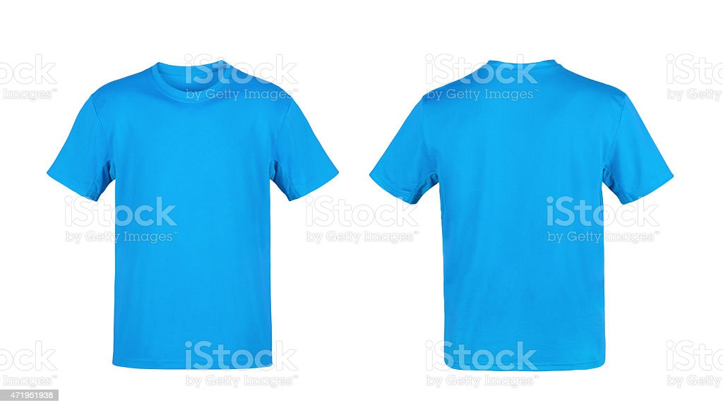 Blue T-shirt isolated on white background stock photo
