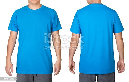 1093999692 istock photo Blue t-shirt on a young man isolated on white background. Front and back view. 1161729015