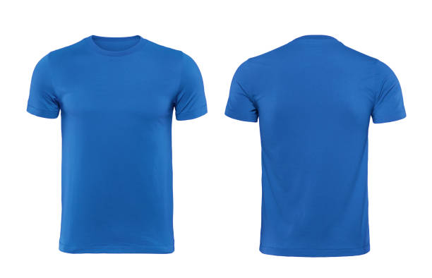 blue t-shirts front and back used as design template. - t shirt stock photos and pictures