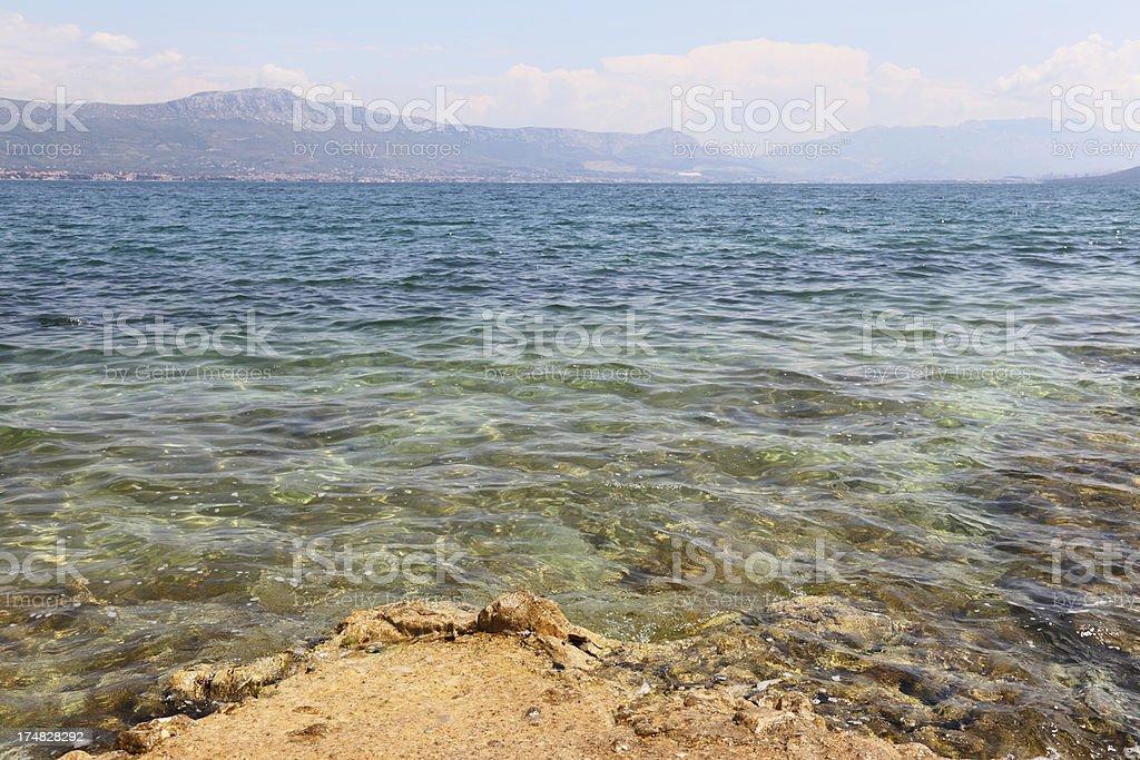 blue turqoise mediterranean beach view  Trogir Croatia royalty-free stock photo