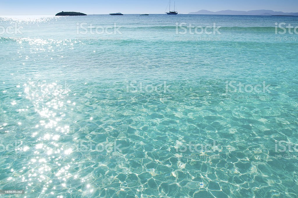 blue turquoise ripple Formentera water stock photo