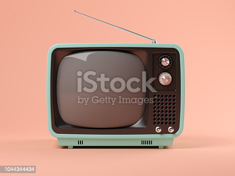 Blue tv on pink background 3 D illustration