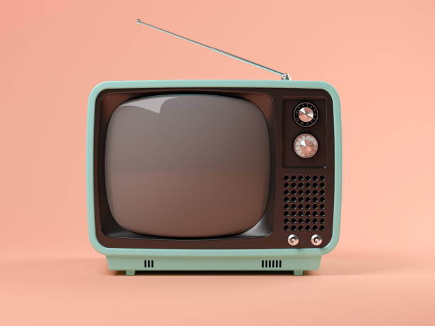 blue tv on pink background 3d illustration - televisor imagens e fotografias de stock