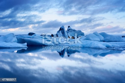 Blue twilight landscape of Jokulsarlon Lagoon, Iceland