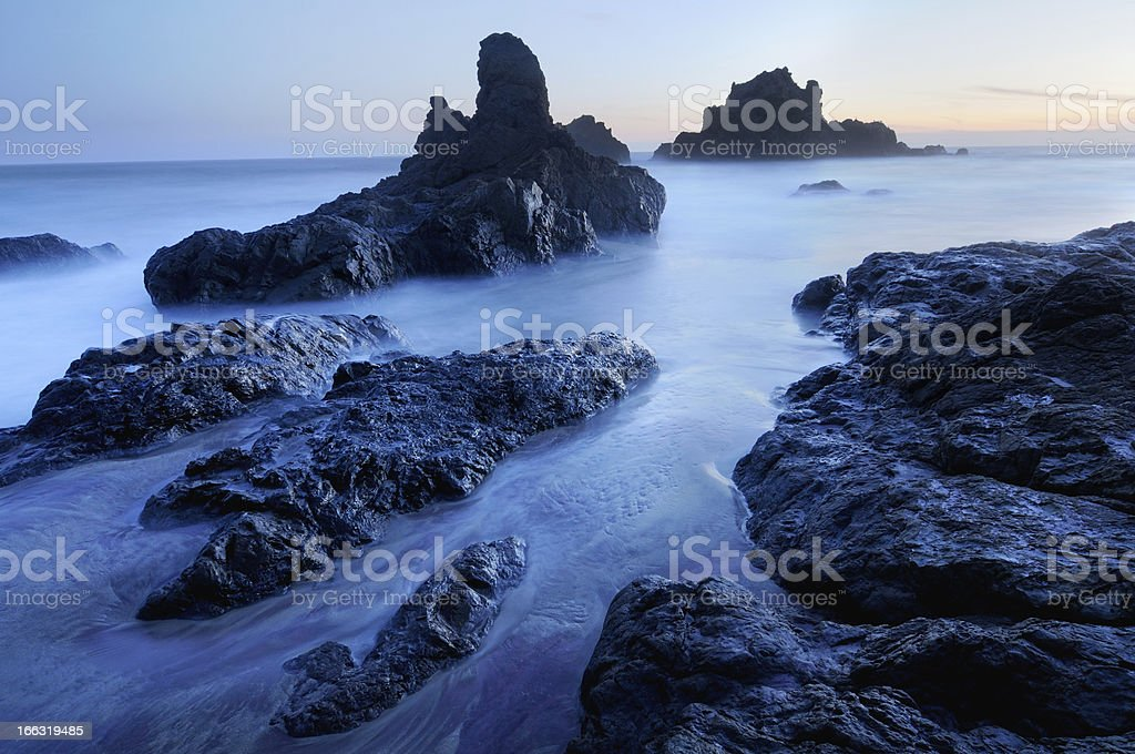 Blue twilight seascape at Big Sur, California, USA royalty-free stock photo