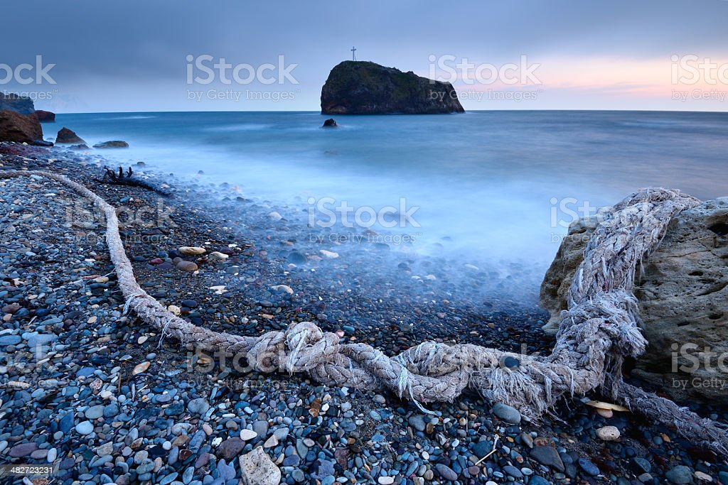 Blue twilight seascape royalty-free stock photo