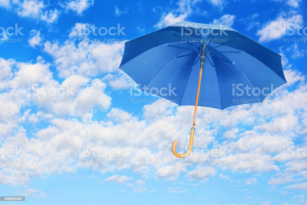 Blauen Schirm Fliegt Im Himmel Gegen Die Weißen Wolken Mary Poppins