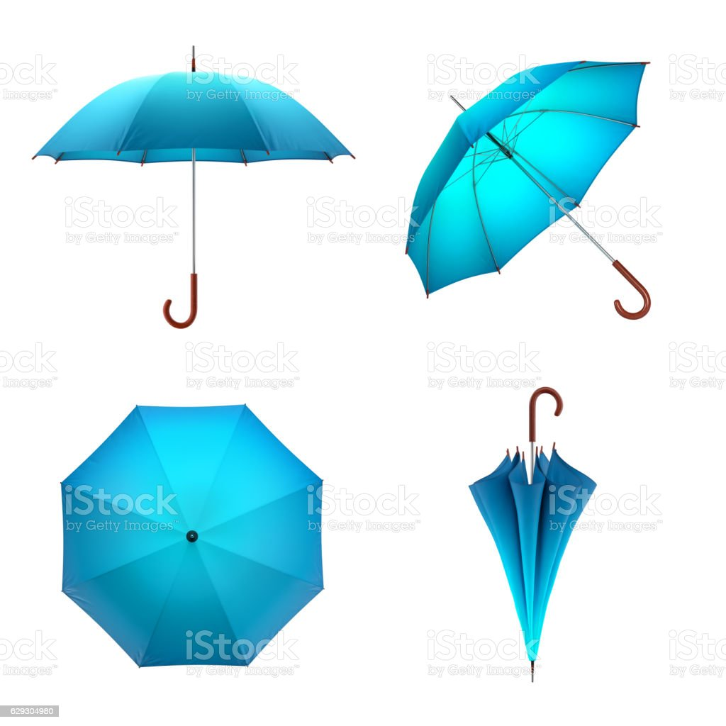 Blue umbrella isolated on white background. 3D illustration . stock photo