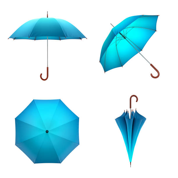 blue umbrella isolated on white background. 3d illustration . - chapéu imagens e fotografias de stock