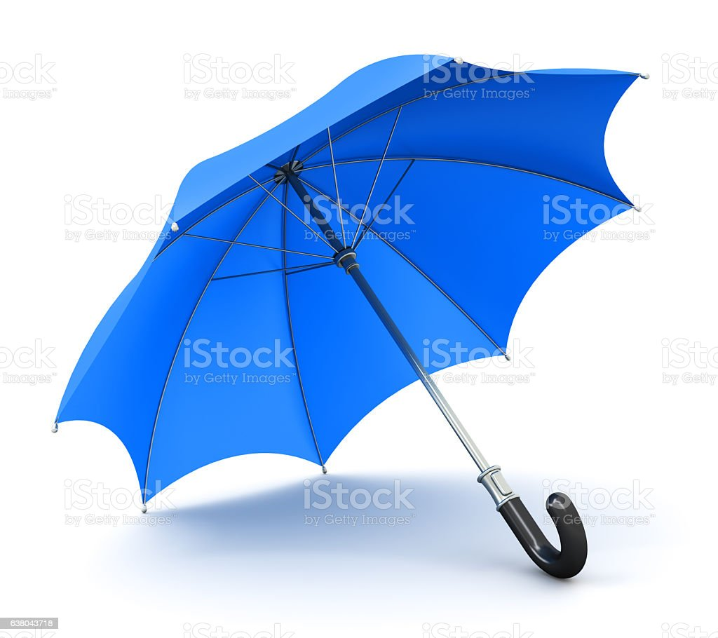 Blue umbrella or parasol stock photo