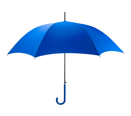 Bright Blue Umbrella Side  View Isolated on White Background.