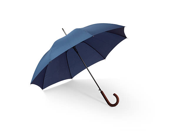 blue umbrella w/clipping path - clipping path stockfoto's en -beelden