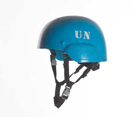 blue UN military helmet isolated on white background