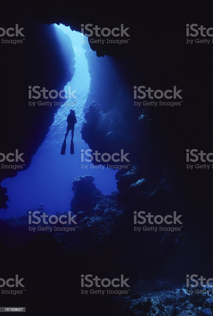 Blue Underwater Cavern stock photo