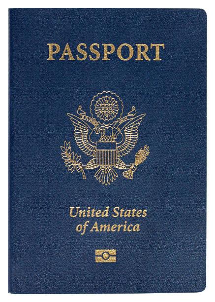Blue United States of America passport on white background stock photo