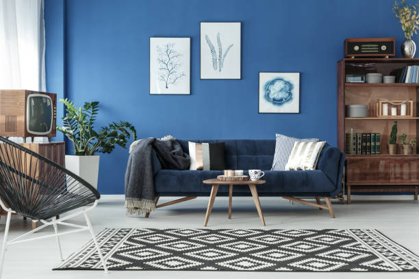 blue up-to-date lounge - retro decor stock photos and pictures