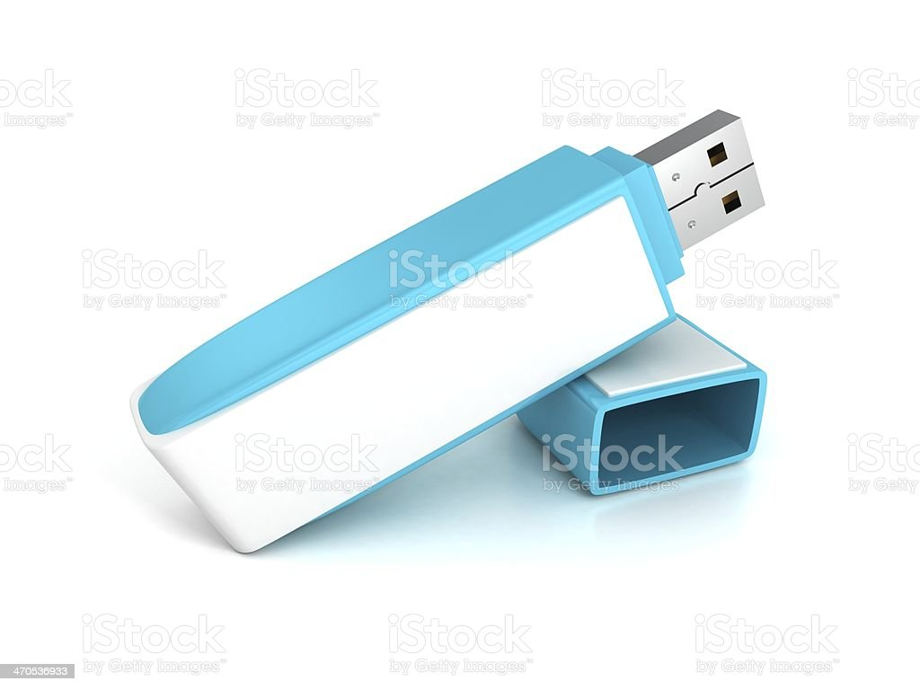 blue usb flash memory drive stick with cover stock photo