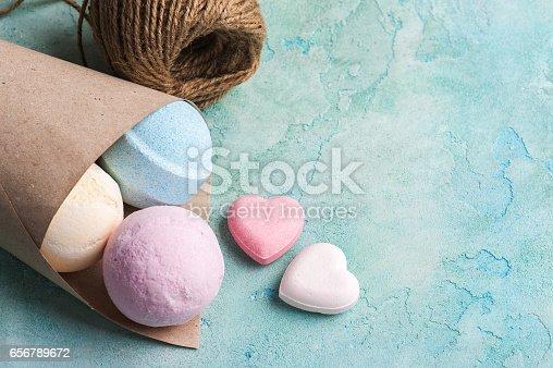 istock Blue, vanilla and strawberry bath bombs 656789672