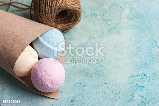 istock Blue, vanilla and strawberry bath bombs 667859064