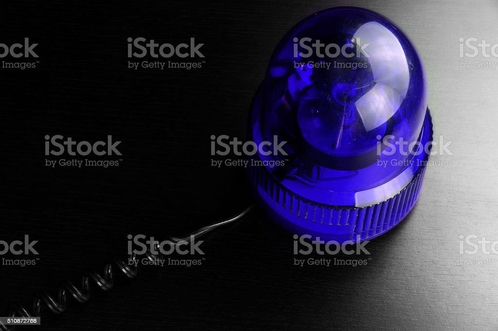 Blue Vehicle Police Strobe Rotating Warning  Emergency Beacon Fl stock photo