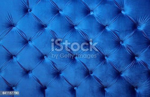 istock Blue velvet capitone textile background, retro Chesterfield style 641157790