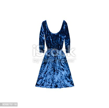 Blue velvet dress. Fashionable concept. Isolated. White background
