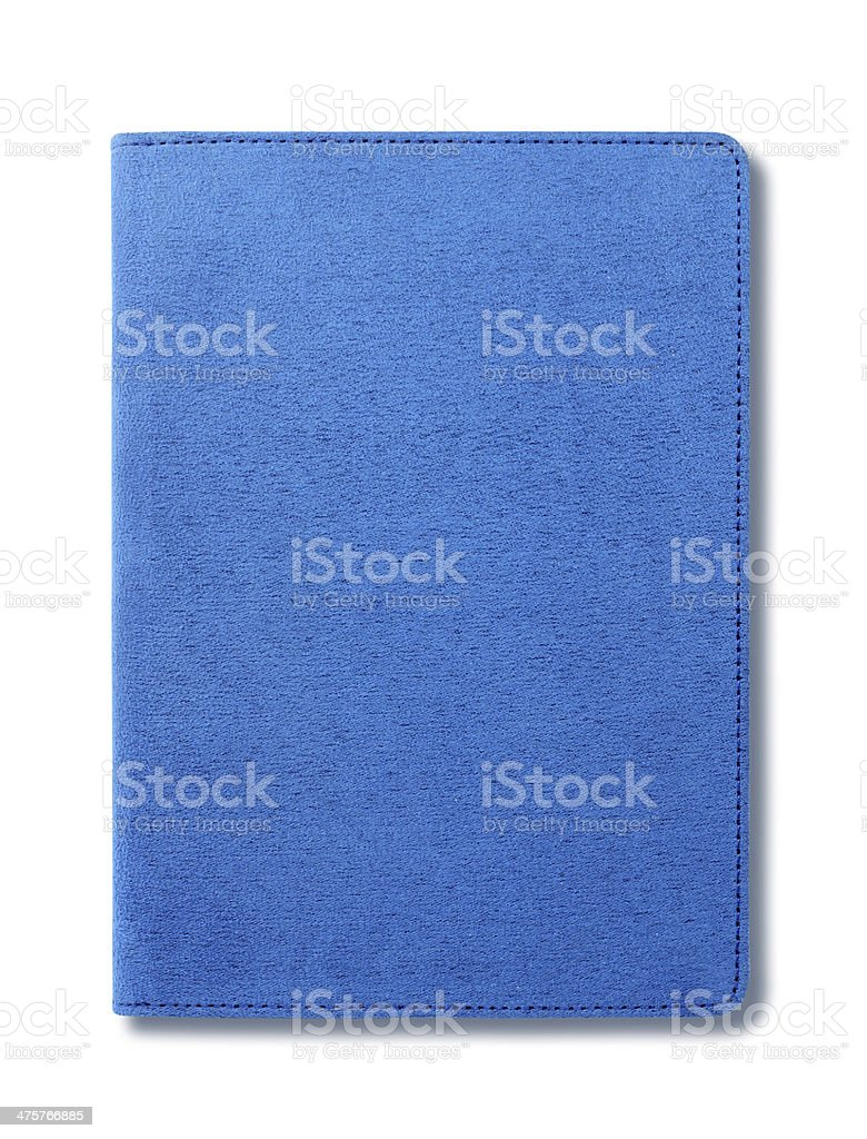 Blue velvet notebook isolated on white background stock photo