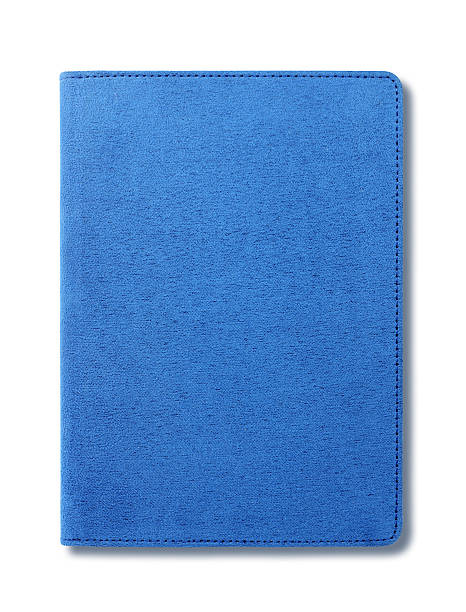 Veludo azul notebook isolado no fundo branco - foto de acervo