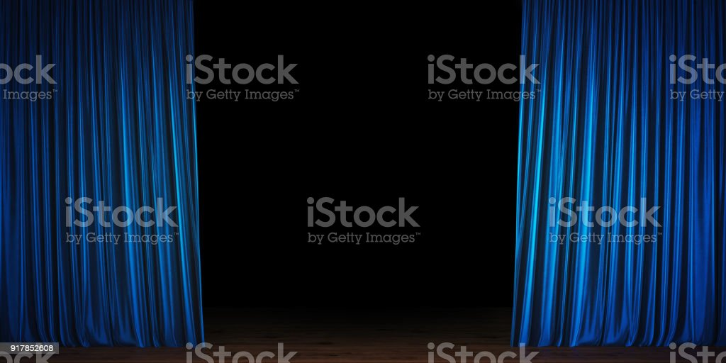 Blue  Velvet Theater Curtain Opening stock photo