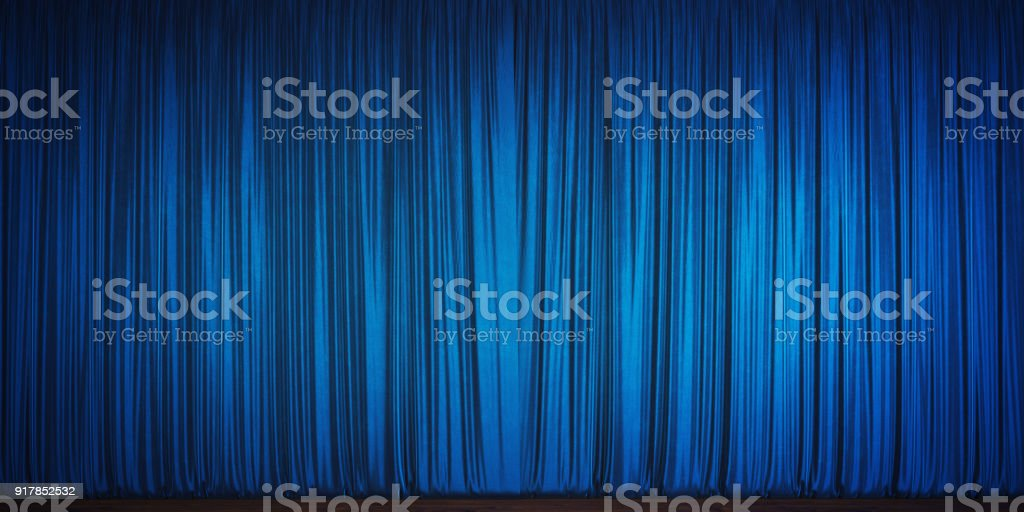 Blue Velvet Theater Curtain stock photo