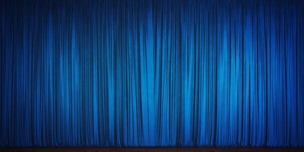 blue velvet theater curtain - curtain stock pictures, royalty-free photos & images