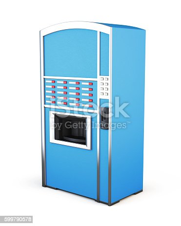 istock Blue vending machine for drinks and snacks on a white 599790578