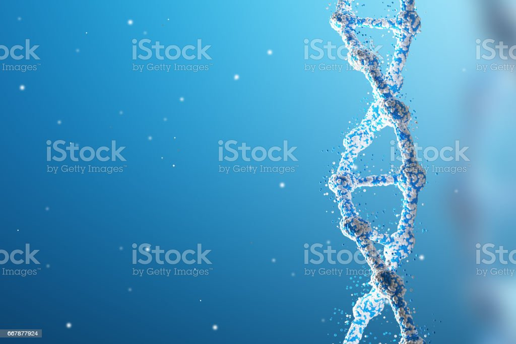 Blue vertical DNA chain against blue background stock photo