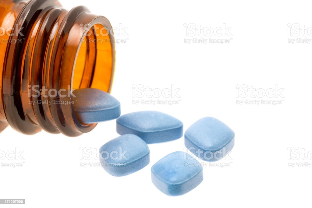 Blue Viagra anti-impotence tablets stock photo