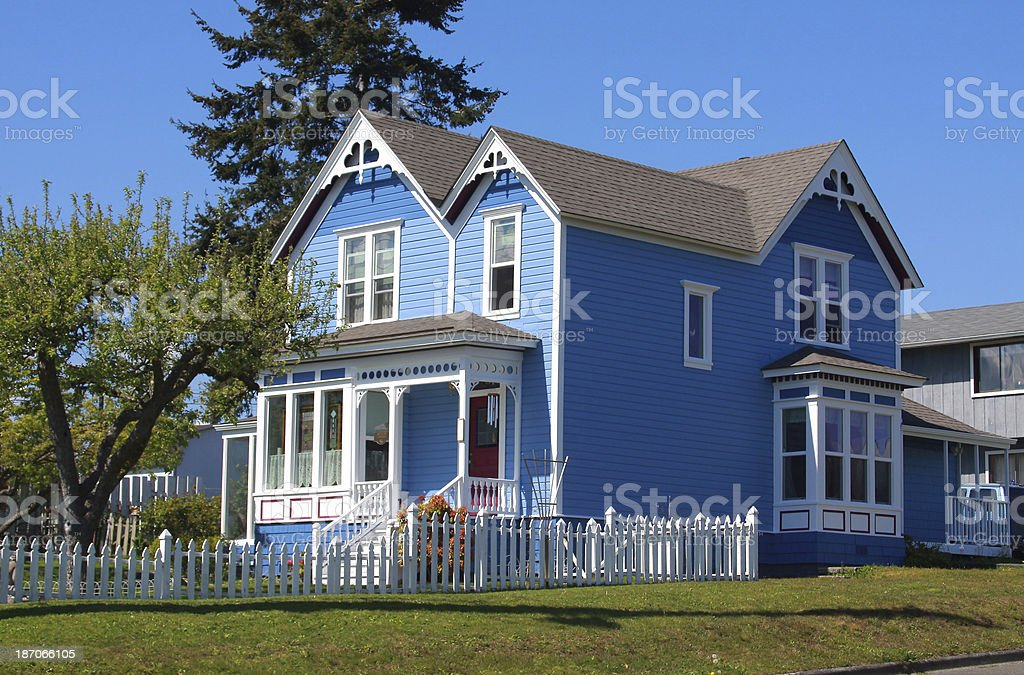 Blue Victorian Home stock photo