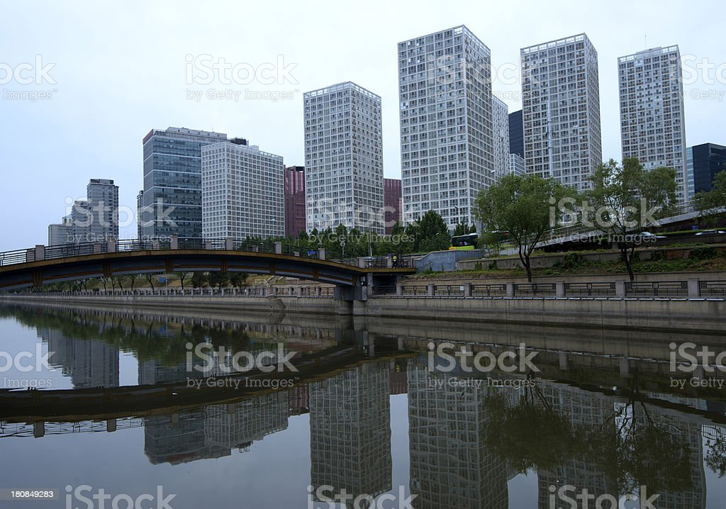 Blue view of Beijing Central Business District Skyline royalty-free stock photo