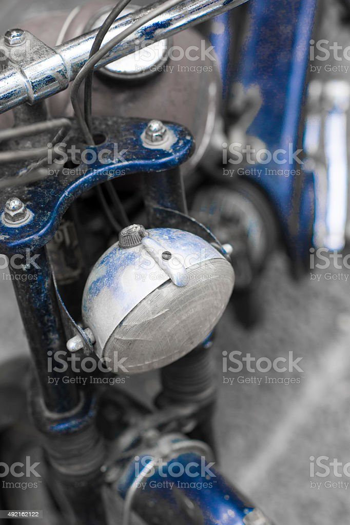 Blue Vintage Bike stock photo