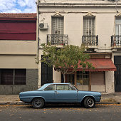 Old vintage car in very good condition parked in the street in Buenos Aires, Argentina