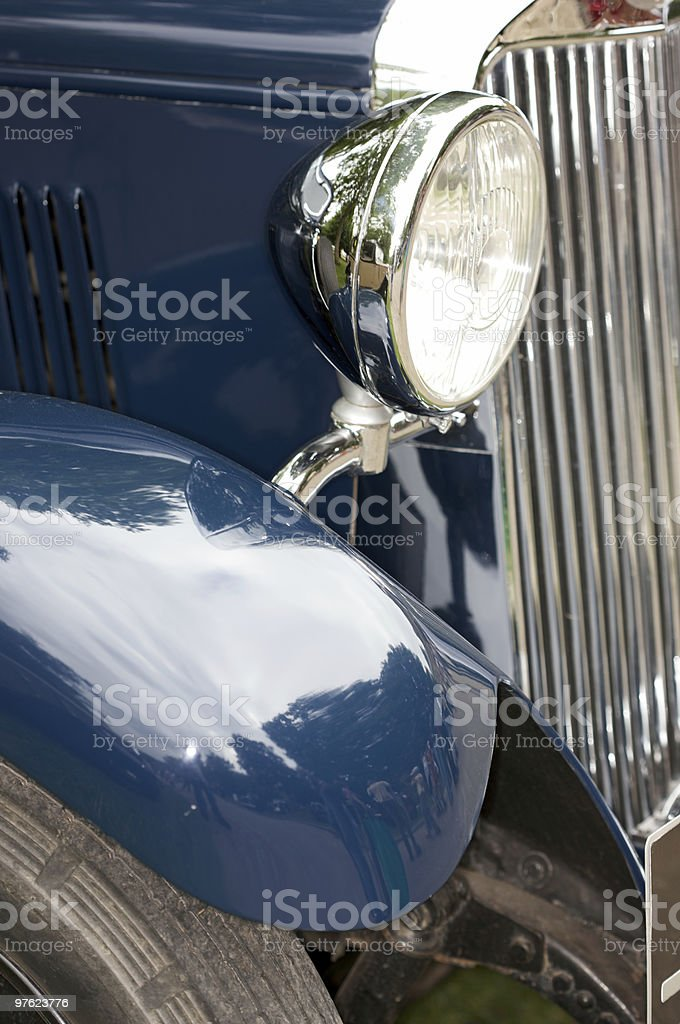 Blue Vintage Car royalty-free stock photo