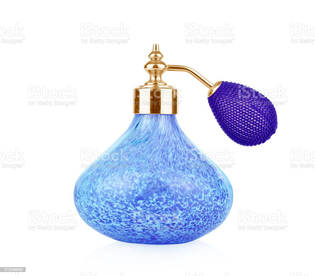 Blue vintage perfume bottle with atomizer isolated stock photo