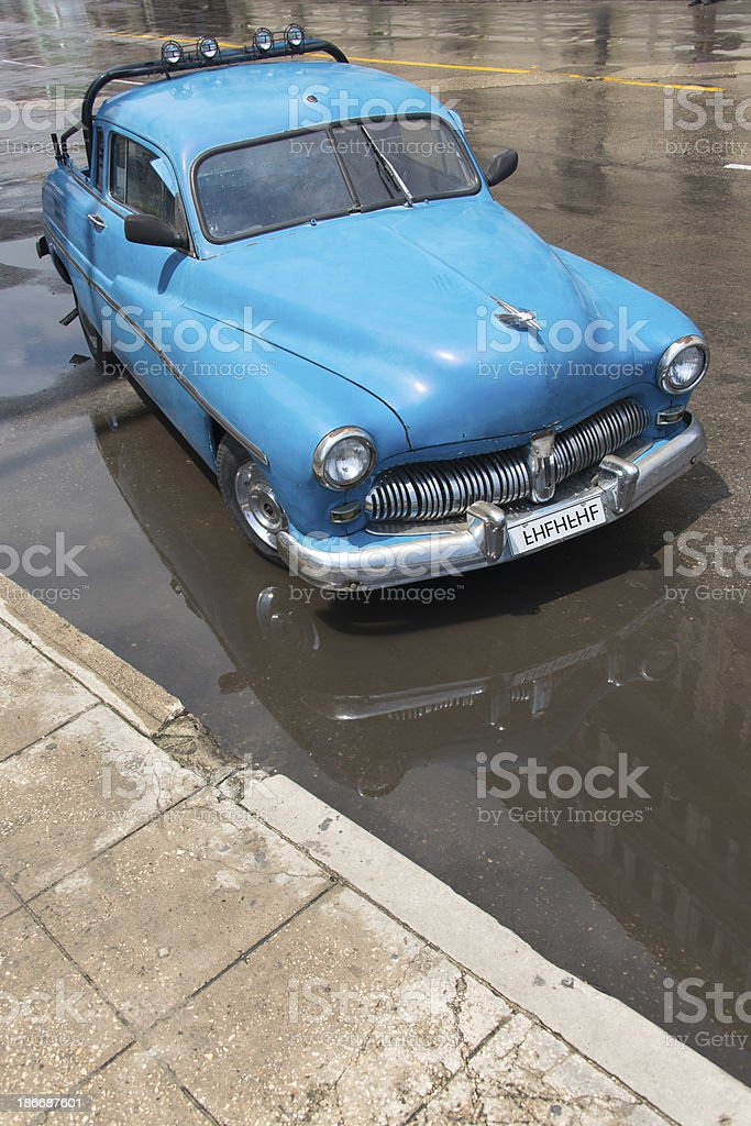 Blue Vintage Pick-Up royalty-free stock photo