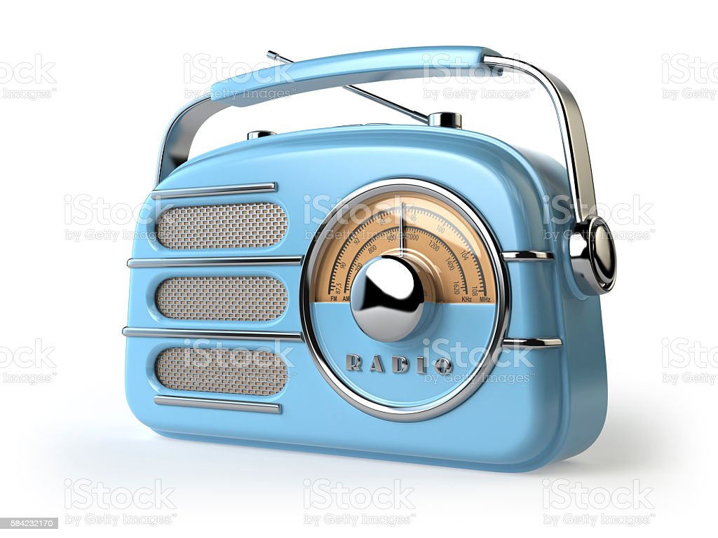 Blue vintage retro radio receiver isolated on white. stock photo