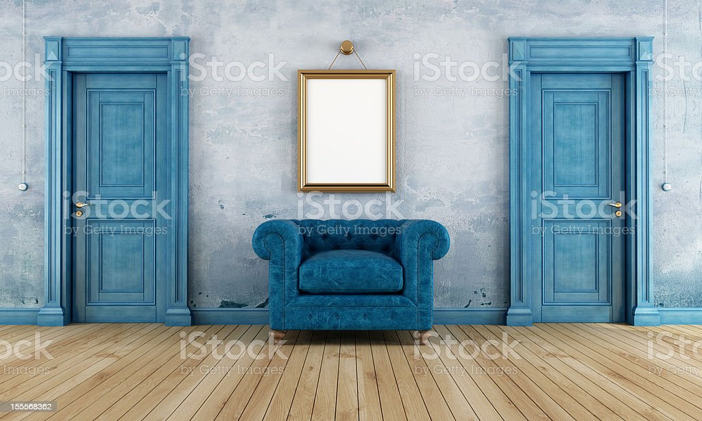 Blue vintage room stock photo