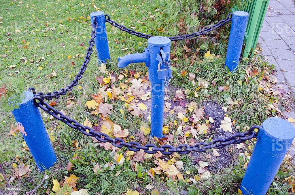 blue vintage street hydrant royalty-free stock photo