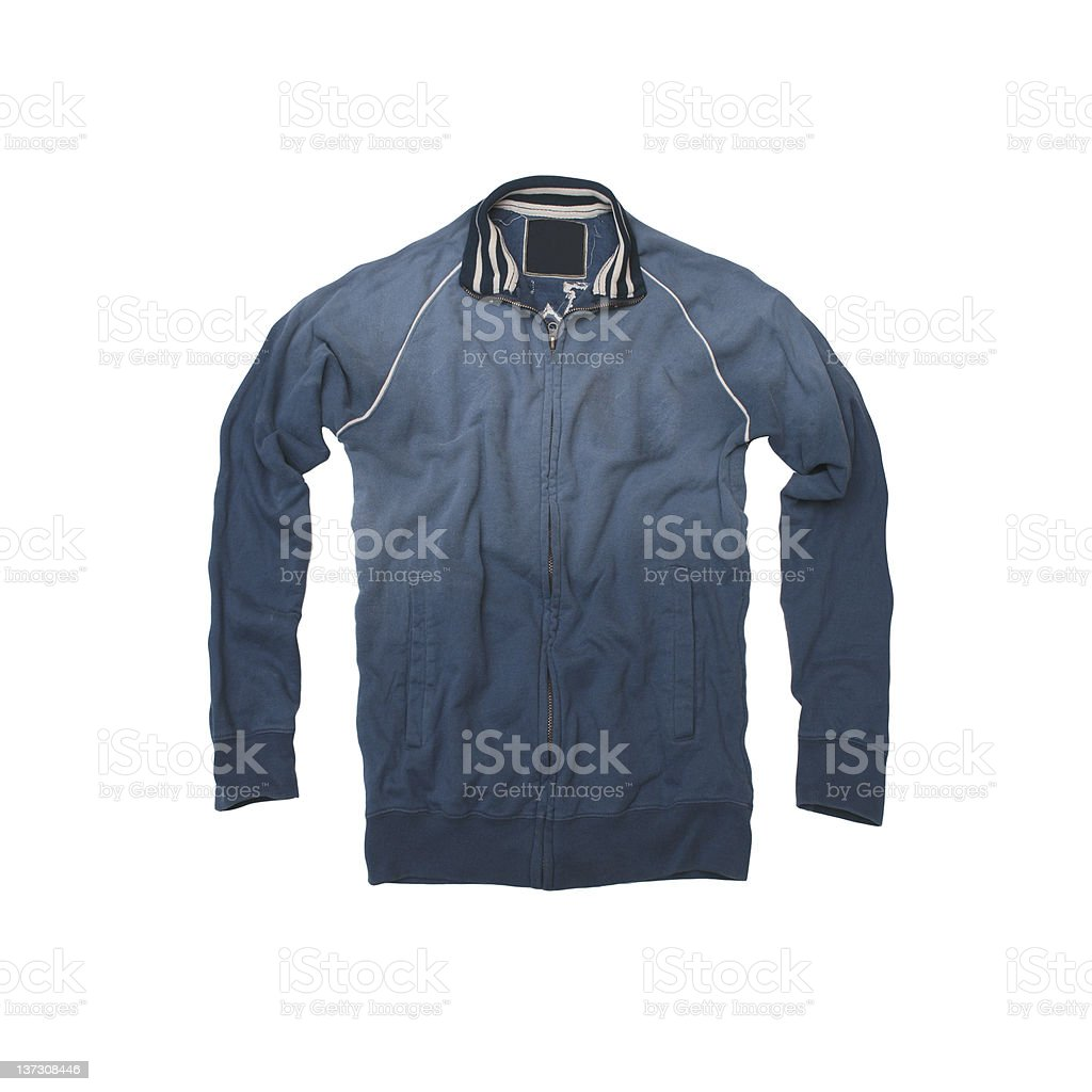 Blue, Vintage Track Jacket on a White Background royalty-free stock photo