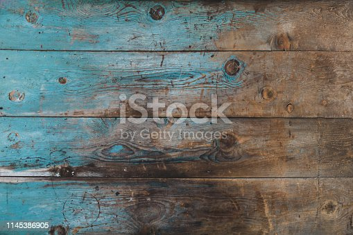 Blue Yellow  old wood background