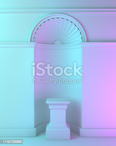 istock Blue violet gradient classic pedestal podium for product display mock up. 1140705990