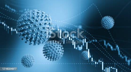 Blue viruses over financial bar graph. Selective focus. Horizontal composition with copy space. COVID-19 stock market and finance concept.
